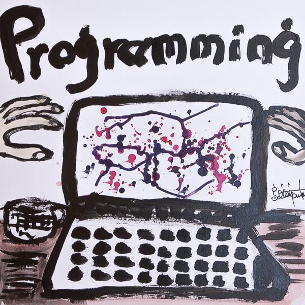 熊谷と繪面がプログラミングコードの内から聴こえてくる声に耳を傾けて楽しむラジオ